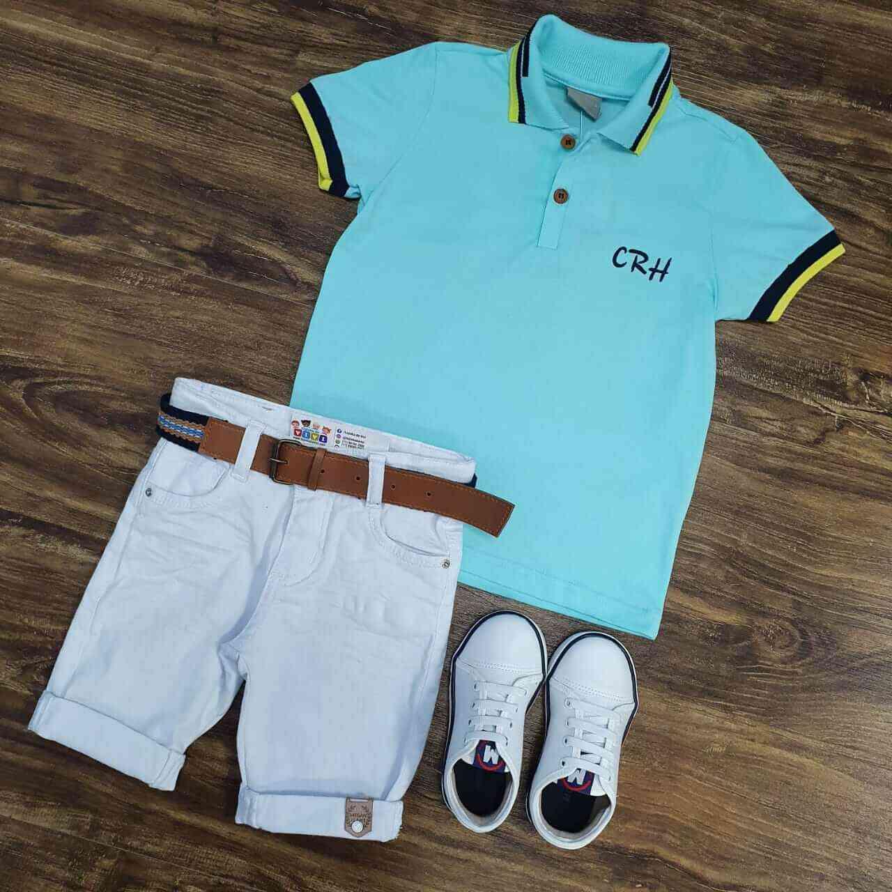 Bermuda Branca com Camisa Polo Azul CRH Infantil