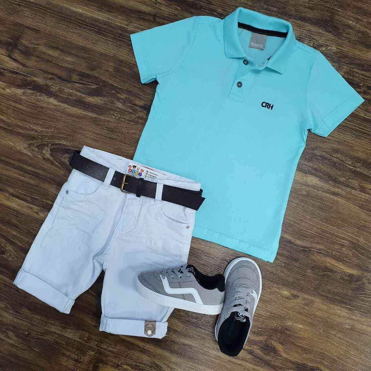 Bermuda Branca com Camisa Polo Azul Infantil