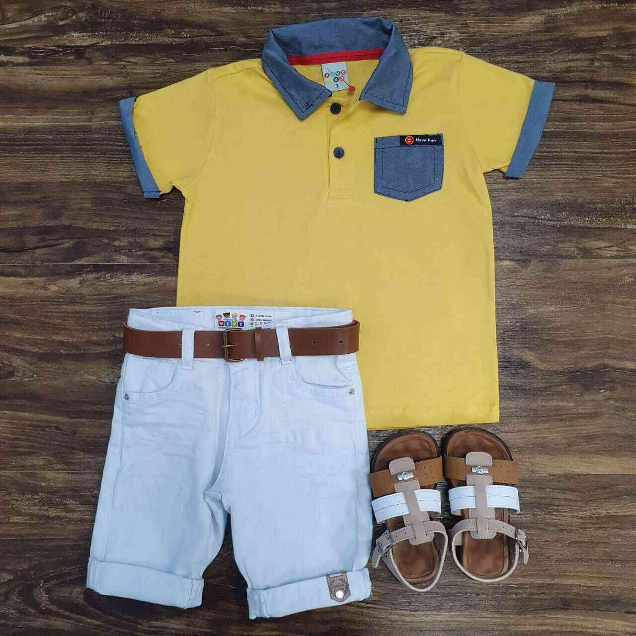Bermuda Branca com Camisa Polo com Bolso Amarela Infantil
