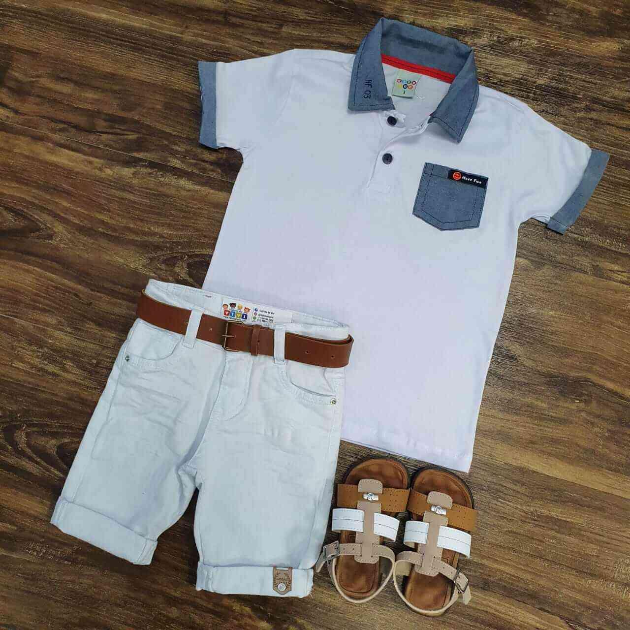 Bermuda Branca com Camisa Polo com Bolso Branca Infantil