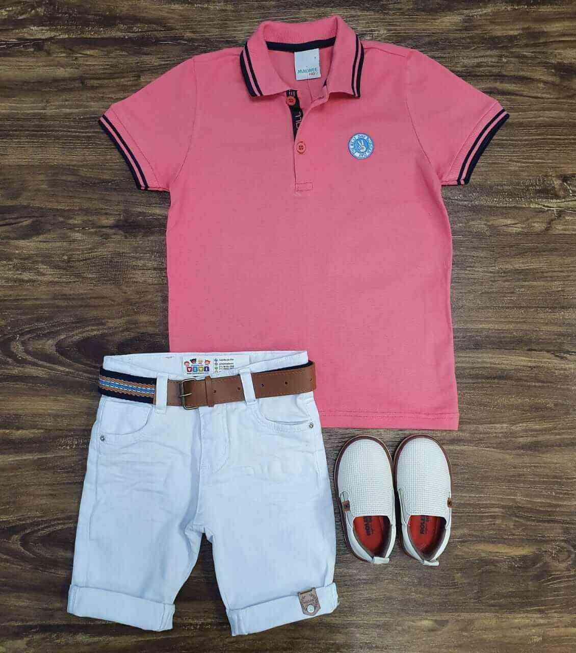 Bermuda Branca com Camisa Polo Rosa Infantil