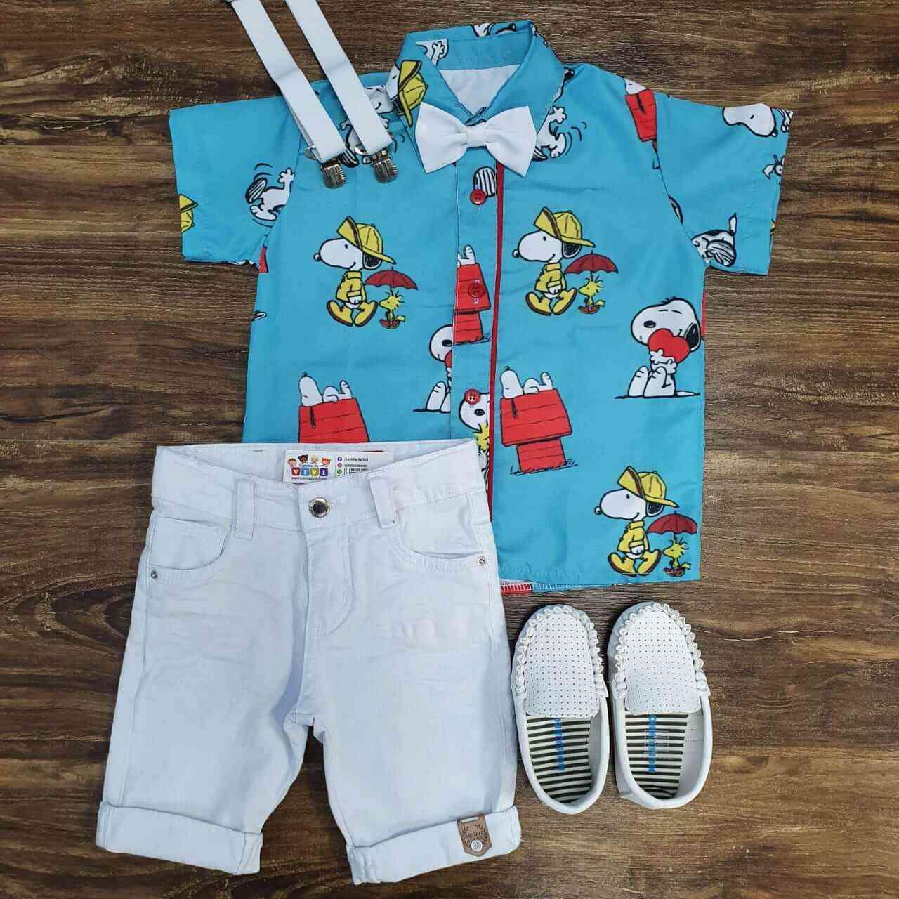 Bermuda Branca com Camisa Snoopy Infantil