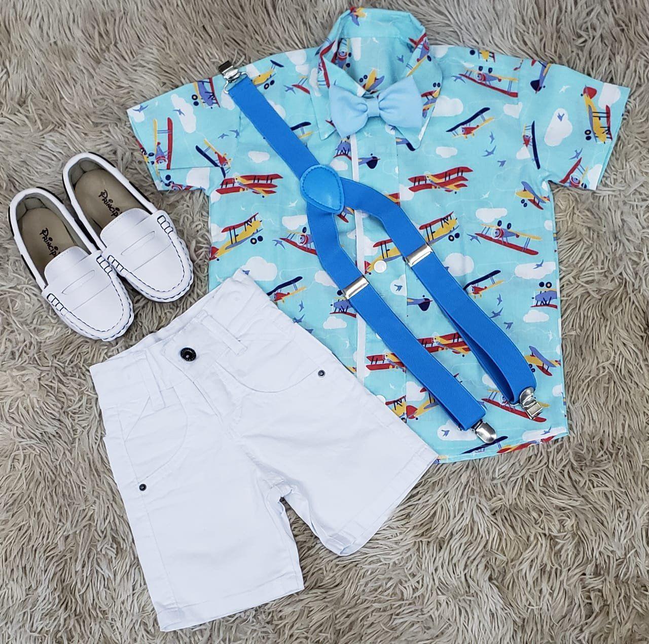 Bermuda Jeans com Camisa Social Aviões mais Suspensório