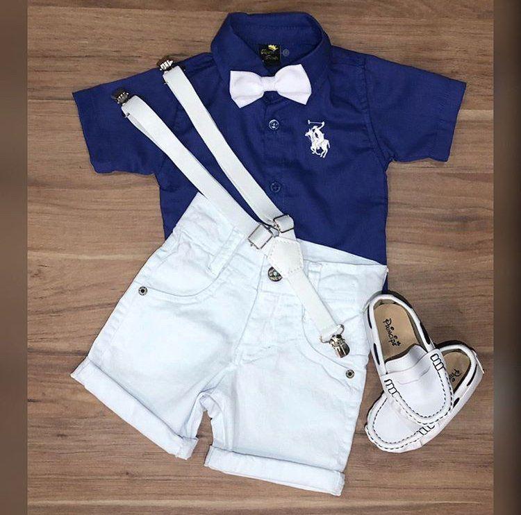 Bermuda Branca com Camisa Social Azul mais Suspensório e Gravata