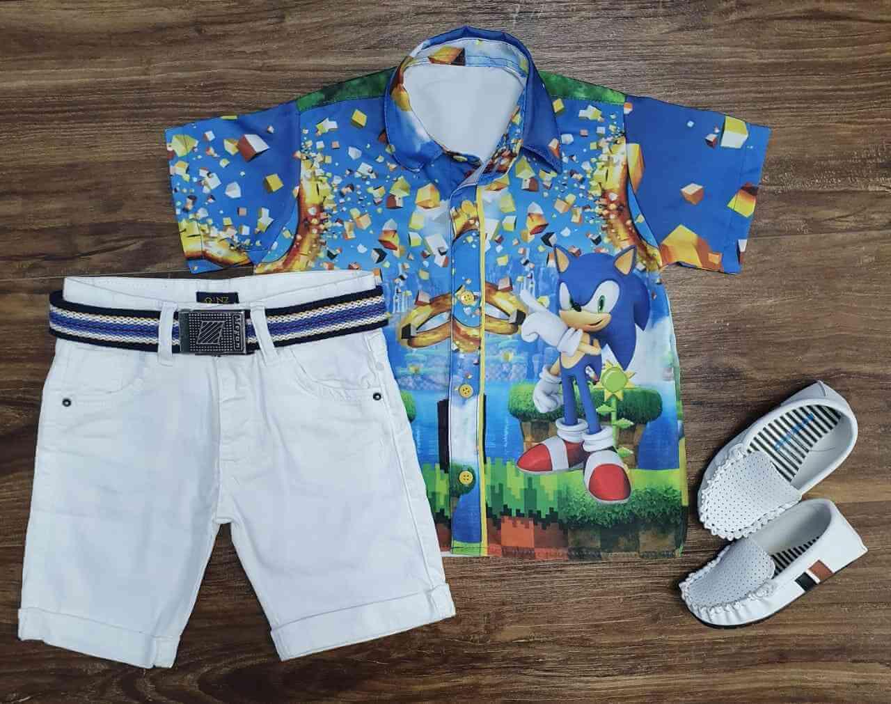 Bermuda Branca com Camisa Sonic