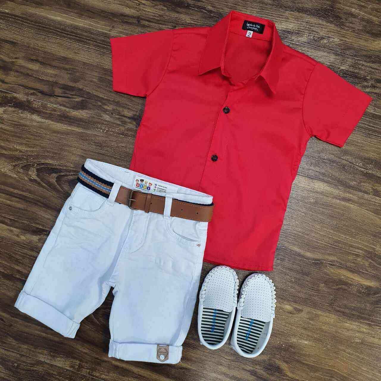 Bermuda Branca com Camisa Vermelha Infantil