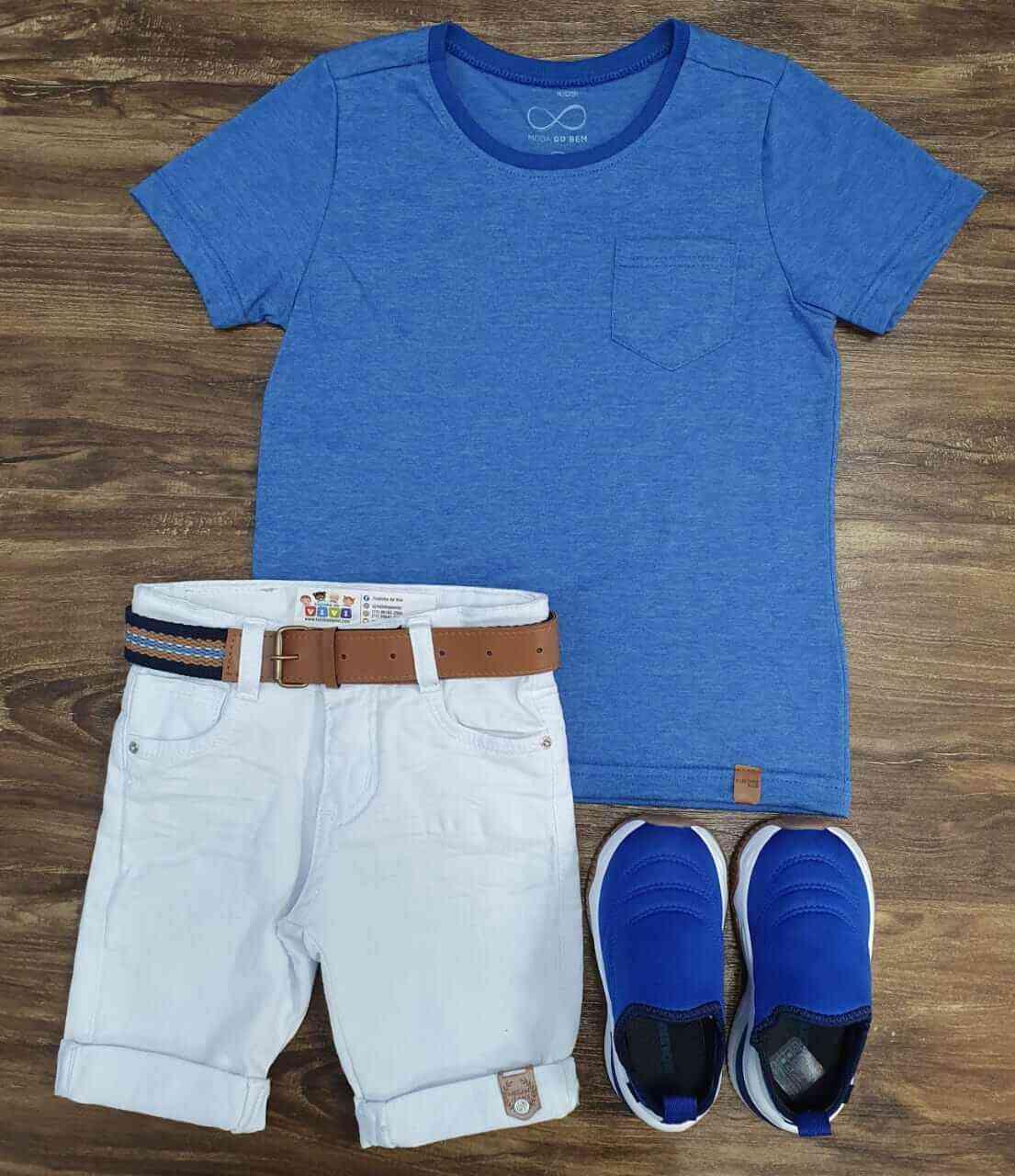 Bermuda Branca com Camiseta Azul com Bolso Infantil