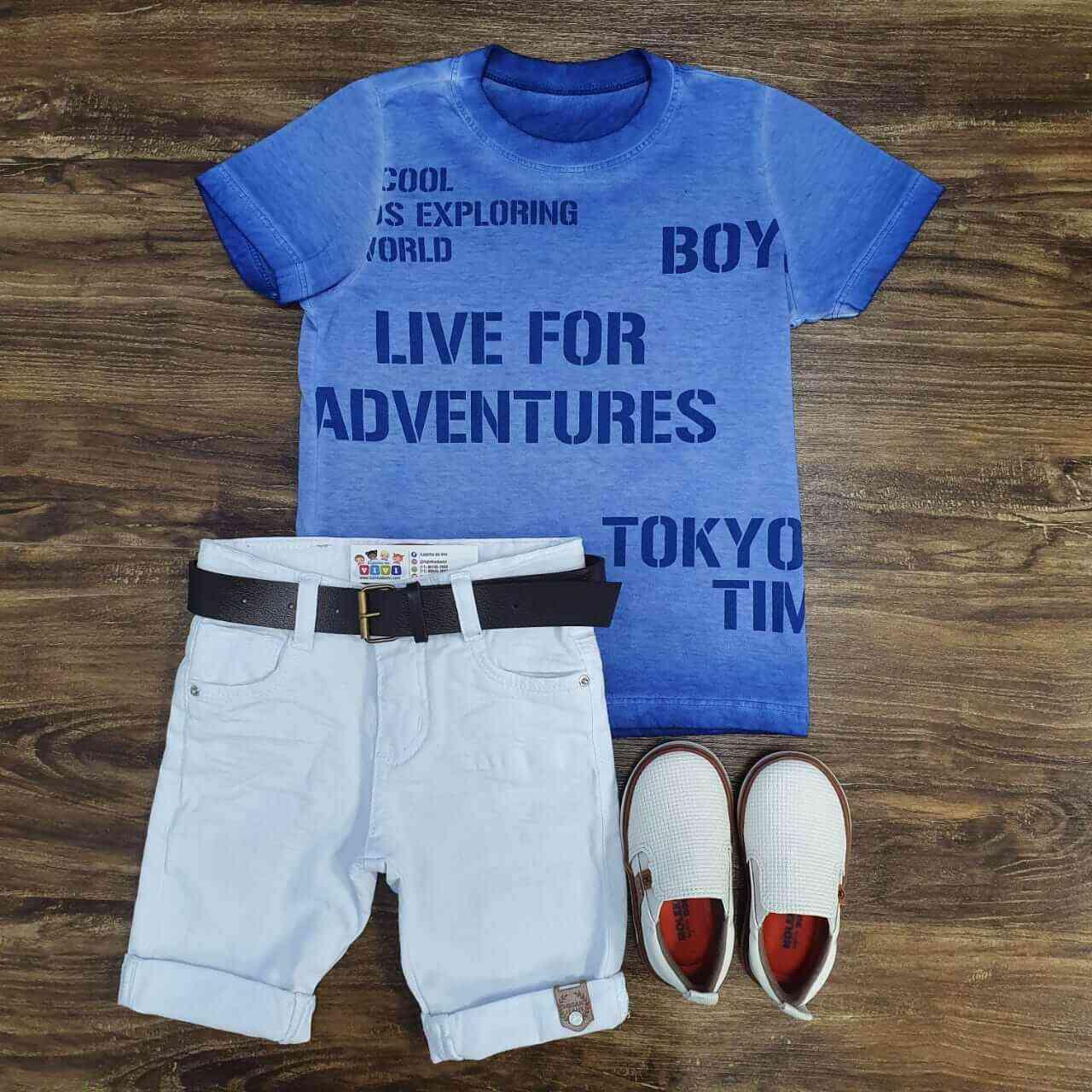 Bermuda Branca com Camiseta Azul Infantil
