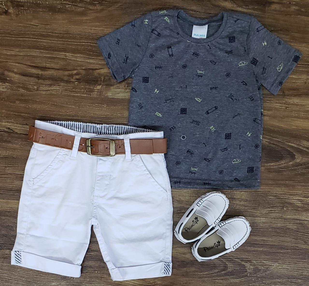 Bermuda Branca com Camiseta Cinza