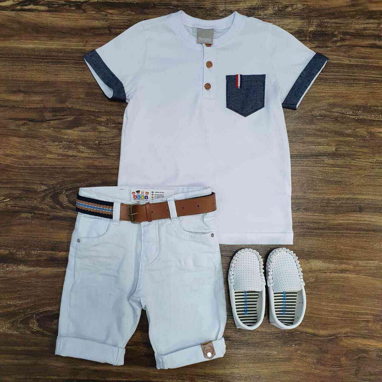 Bermuda Branca com Camiseta com Bolso Infantil