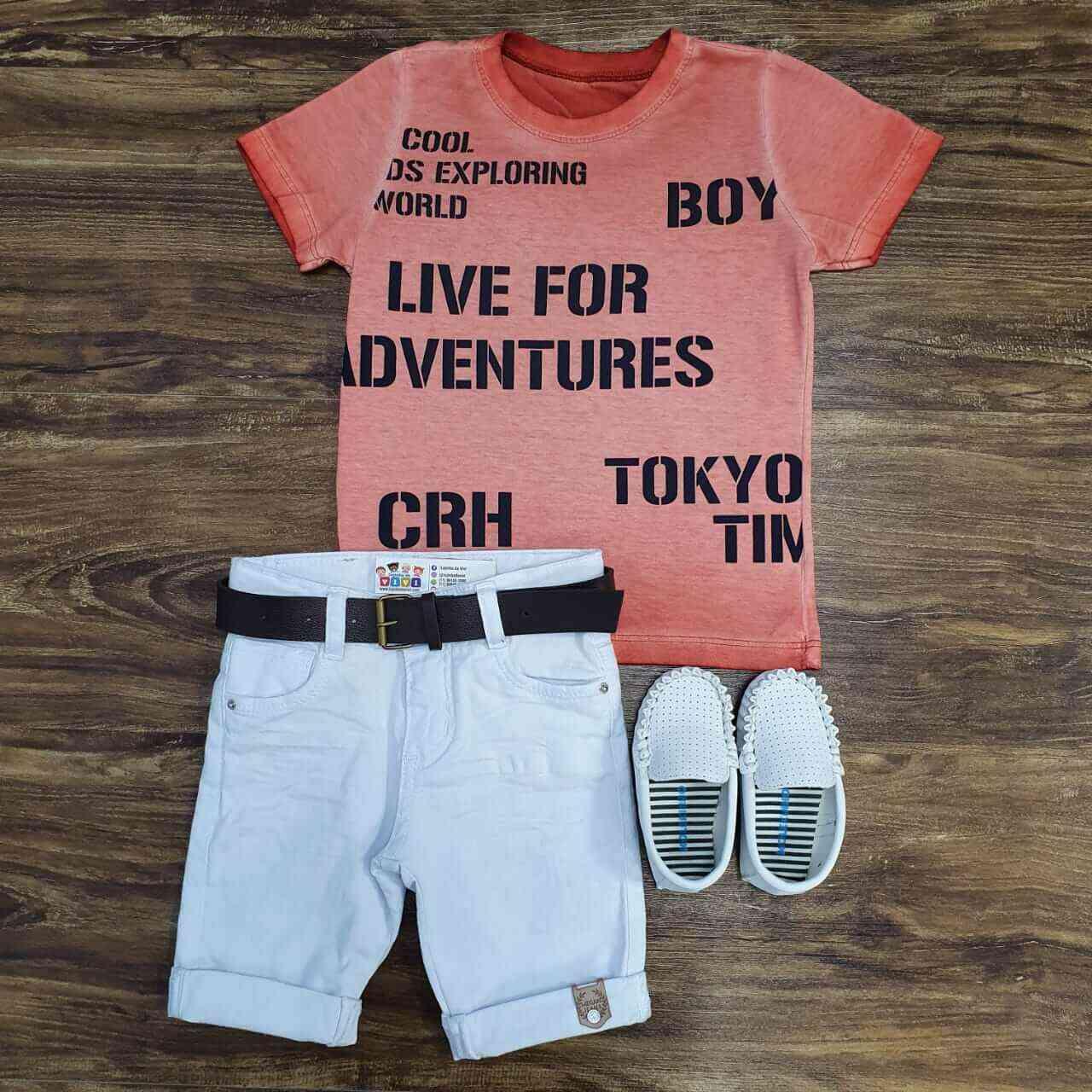 Bermuda Branca com Camiseta Laranja Infantil