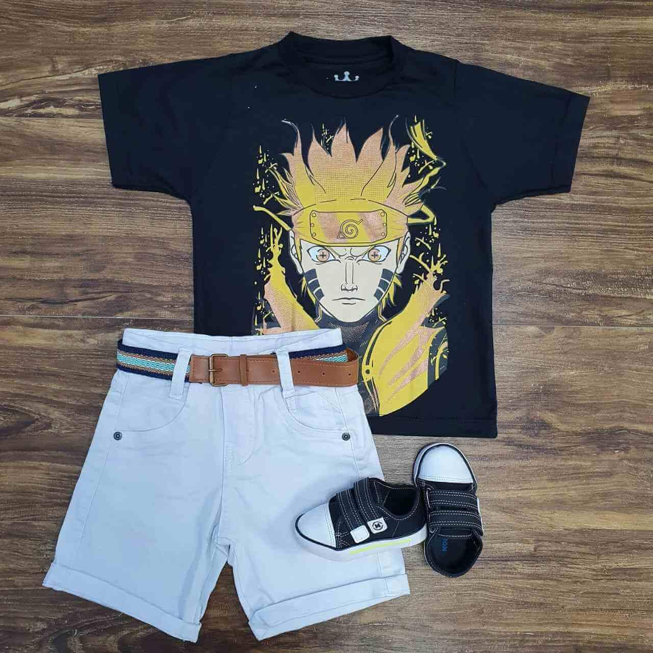 Bermuda Branca com Camiseta Naruto Infantil