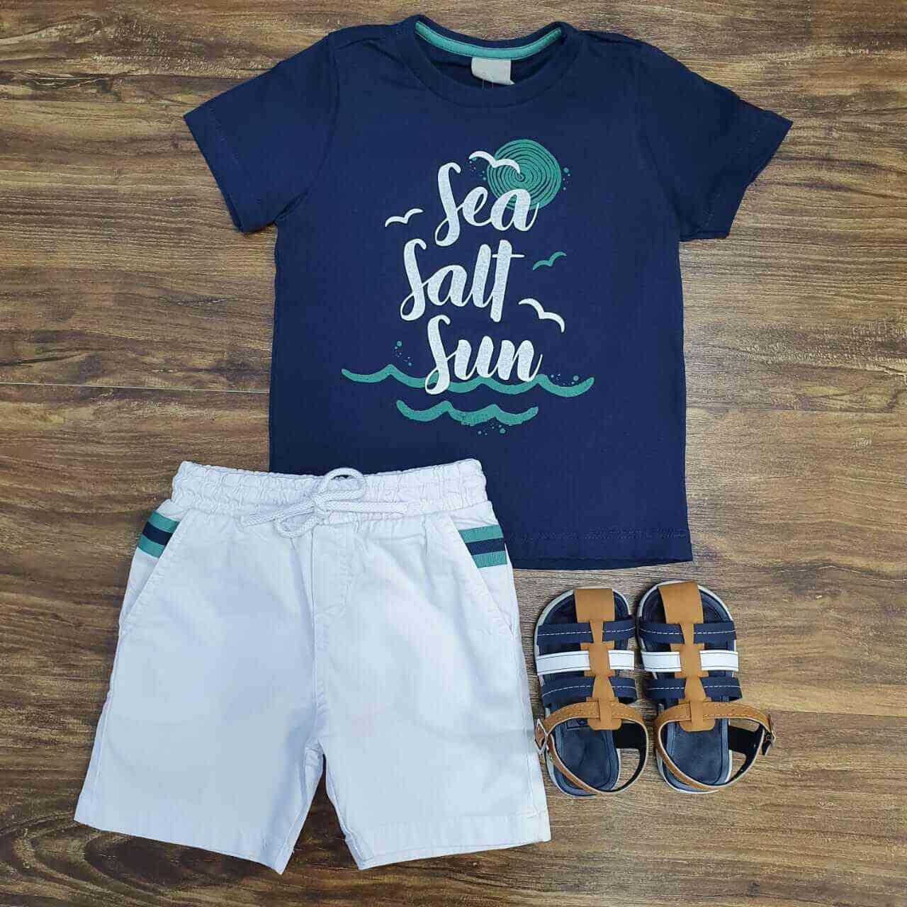 Bermuda Branca com Camiseta Sea Salt Sun Infantil