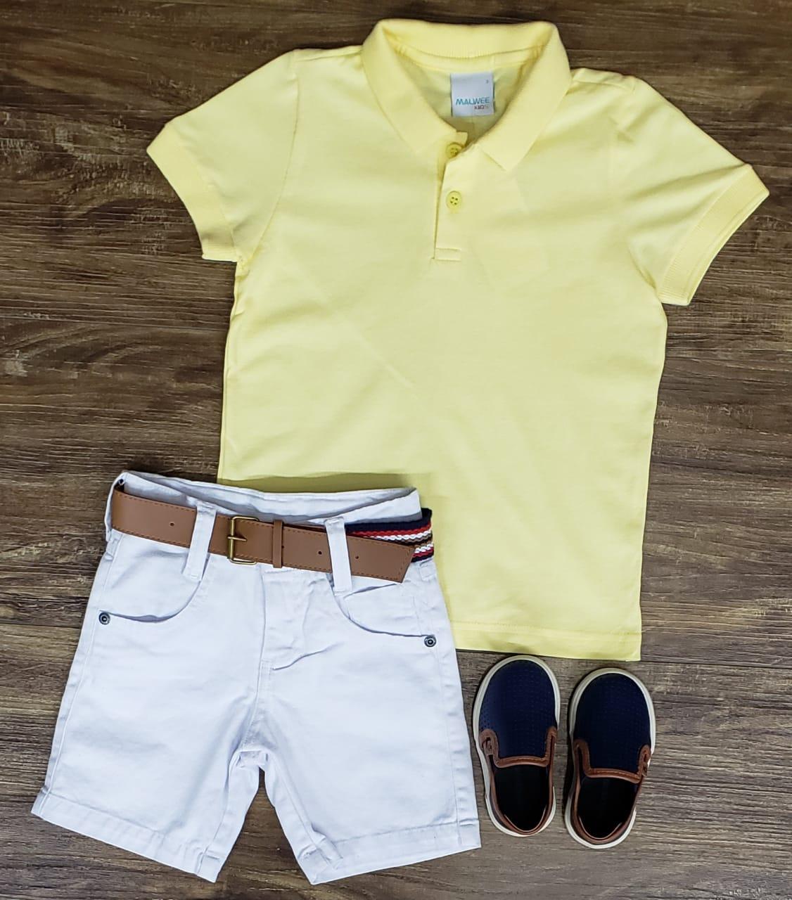 Bermuda Branca com Polo Amarela