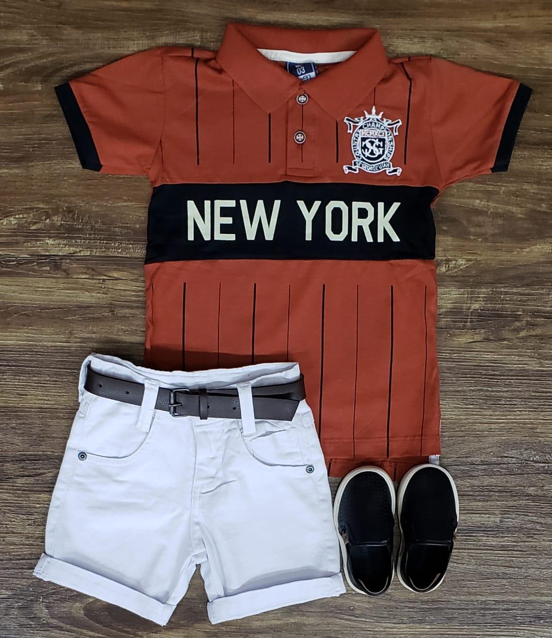 Bermuda Branca com Polo New York