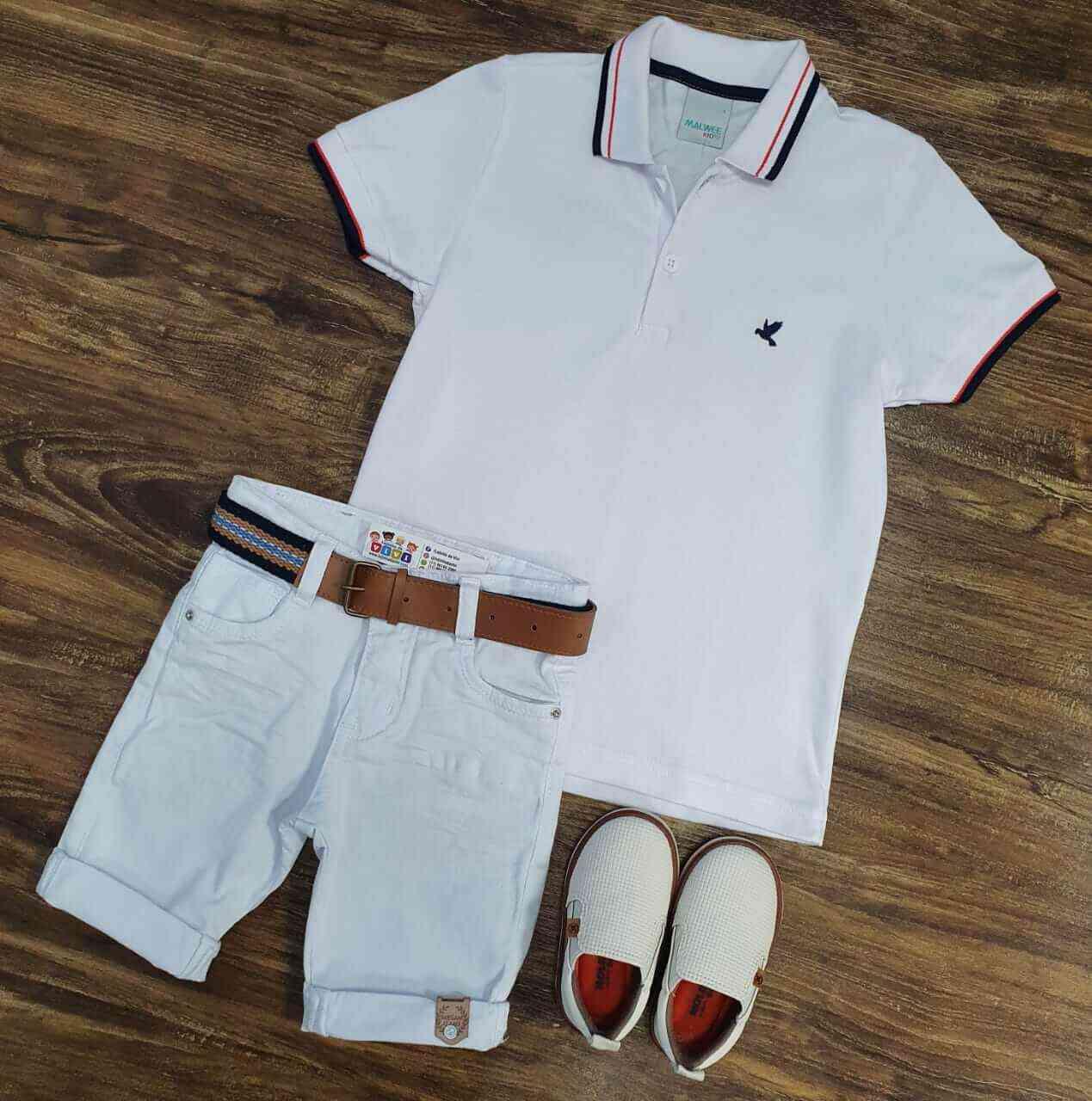 Bermuda Branca com Camisa Polo Branca Infantil