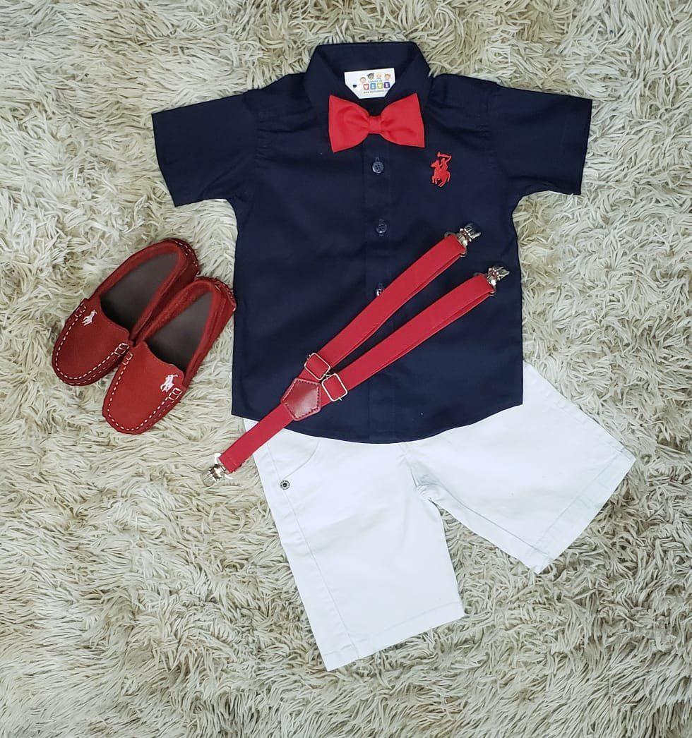 Bermuda Branca com Suspensório e Camisa Azul Marinho com Gravata