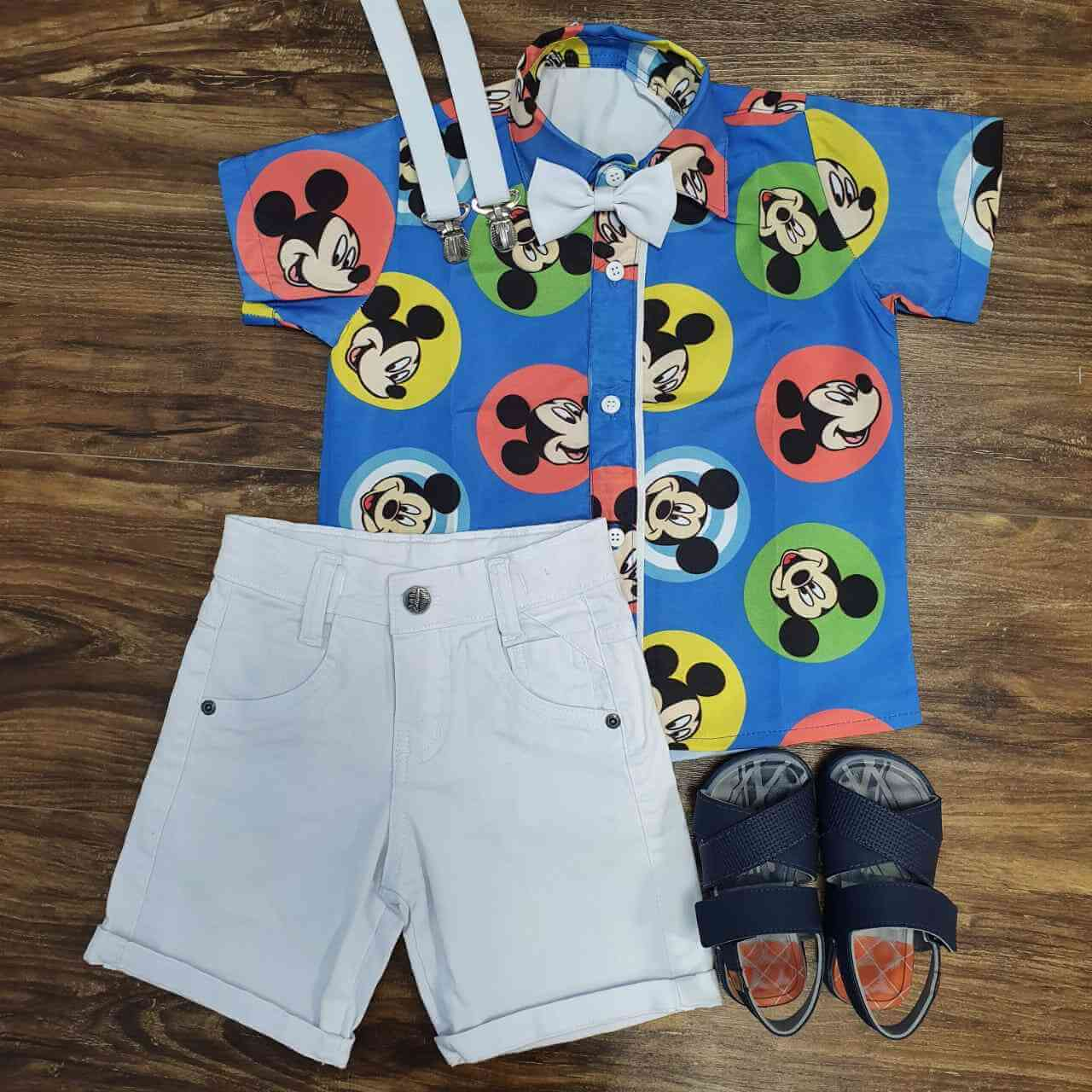 Conjunto Branco Mickey Colorida Infantil