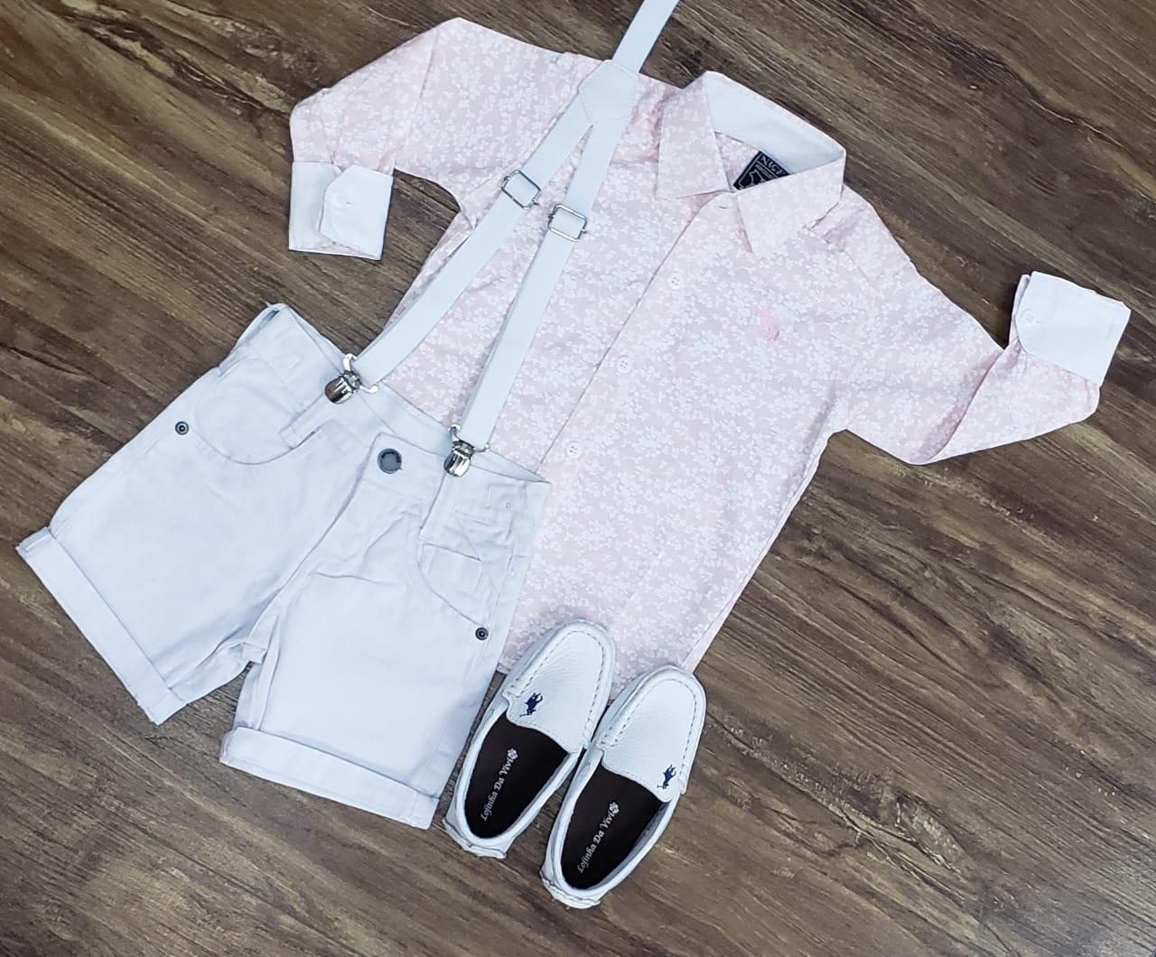 Roupa Infantil com Camisa Rosa Floral Infantil
