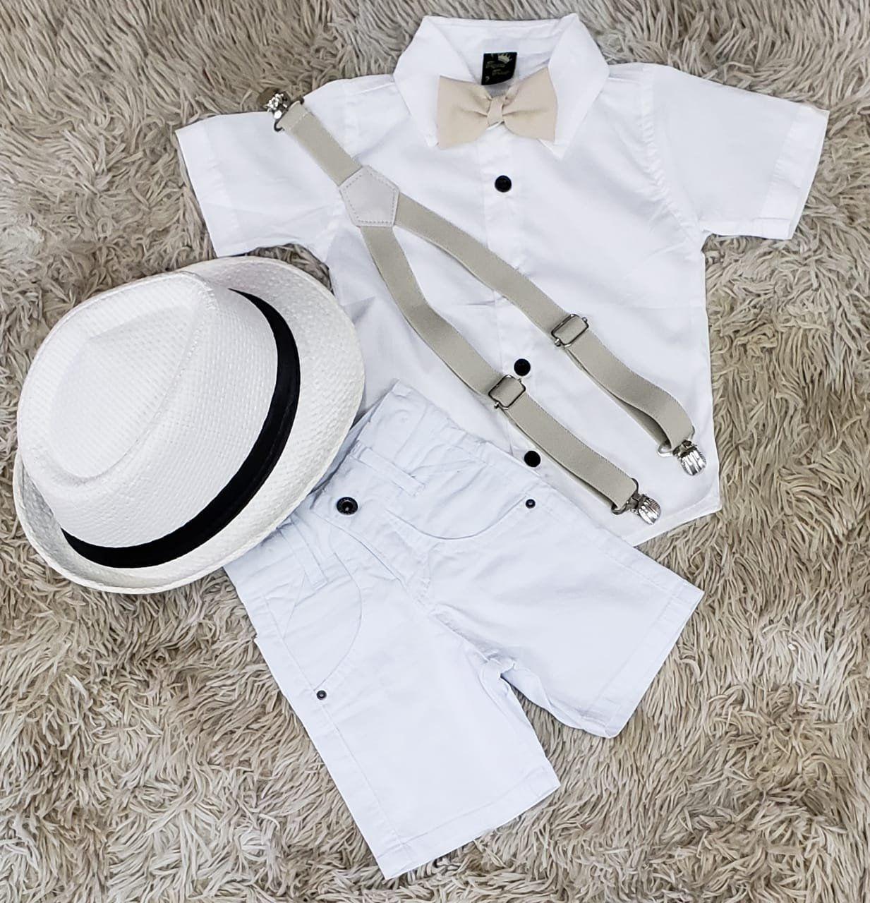 Bermuda Branca com Suspensório e Camisa Social Branca com Gravata