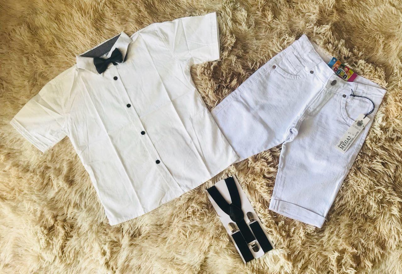Bermuda Branca com Suspensorio Preto e Camisa Branca com Gravata Preta