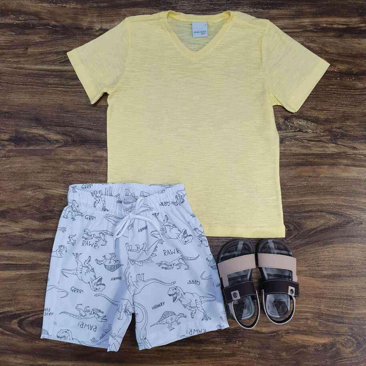 Bermuda Branca de Tactel com Camiseta Amarela Infantil
