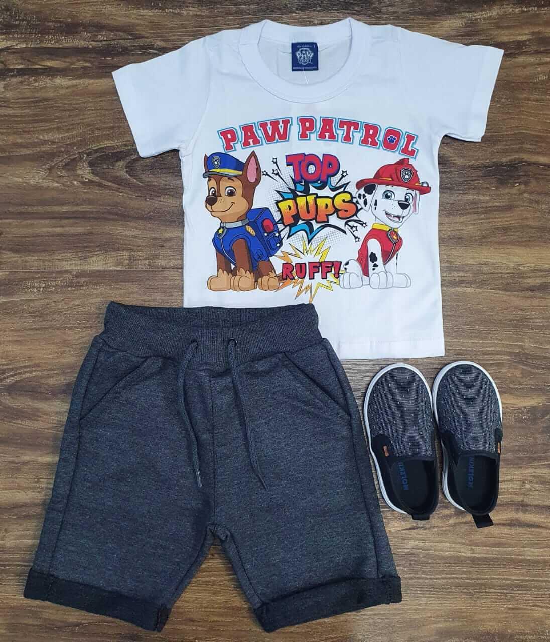 Bermuda com Barra Dobrada com  Camiseta Patrulha Canina Infantil