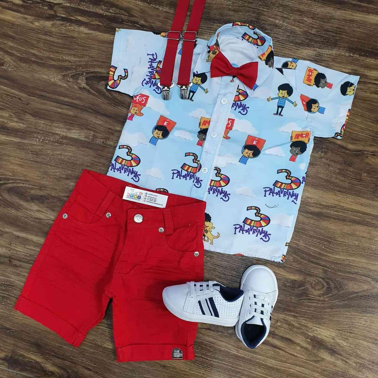 Bermuda com Camisa 3 Palavrinhas Infantil