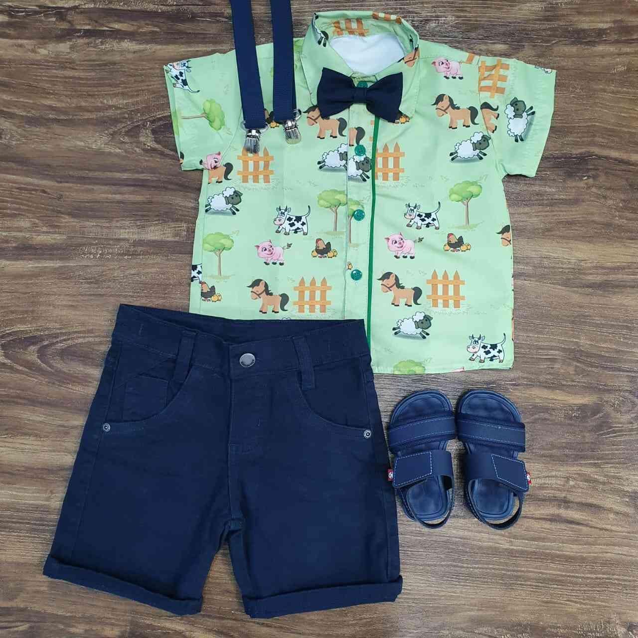 Bermuda com Camisa Fazendinha Infantil