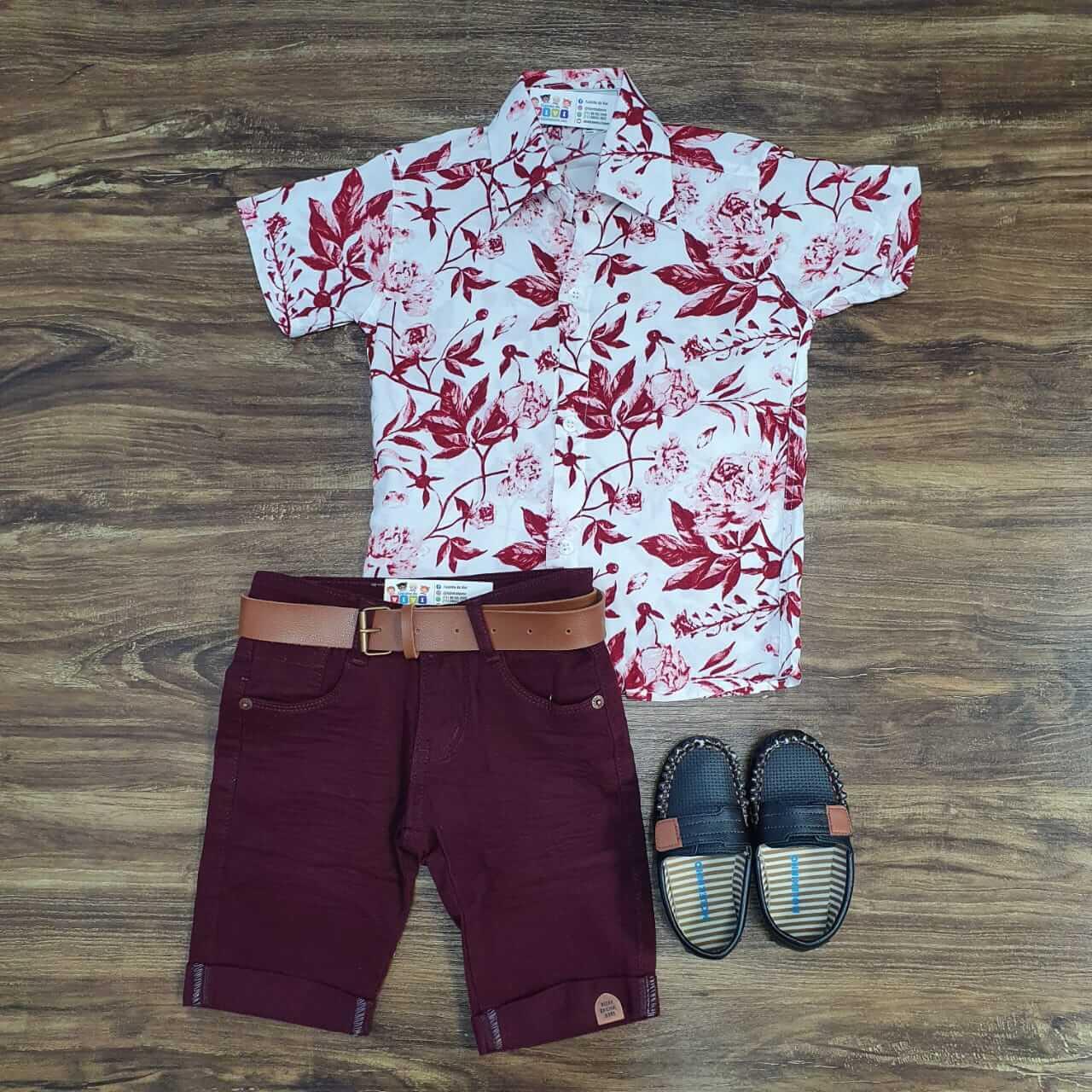 Bermuda com Camisa Floral Infantil