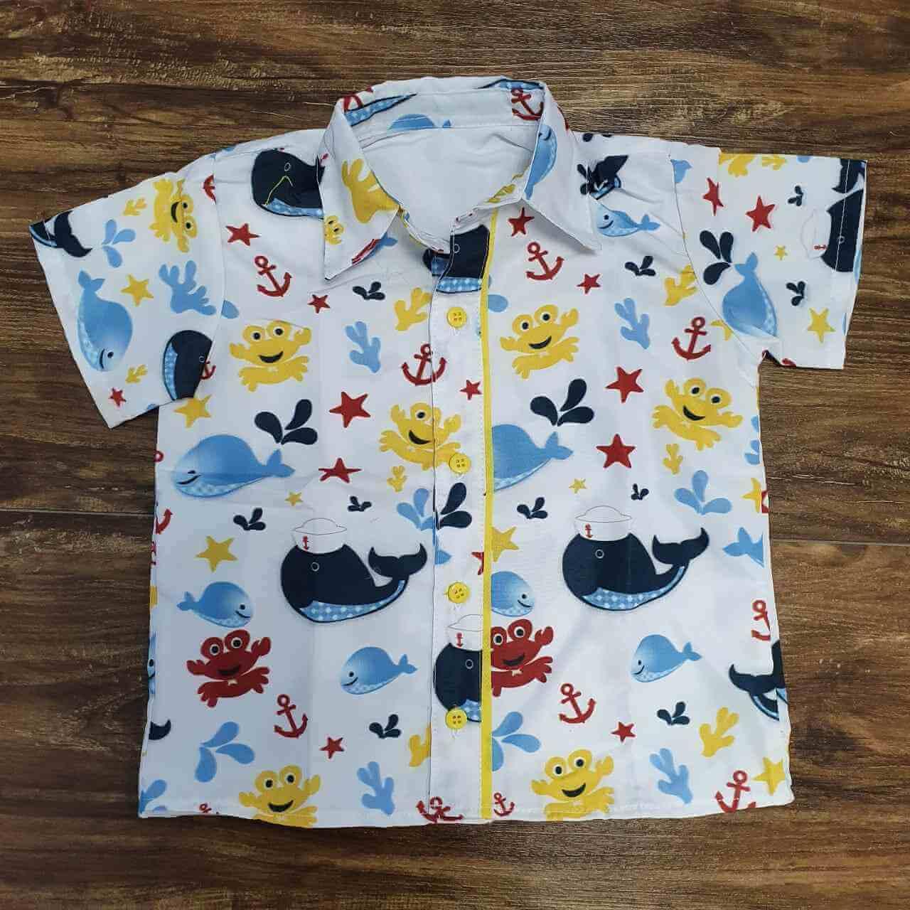 Bermuda com Camisa Fundo do Mar Infantil