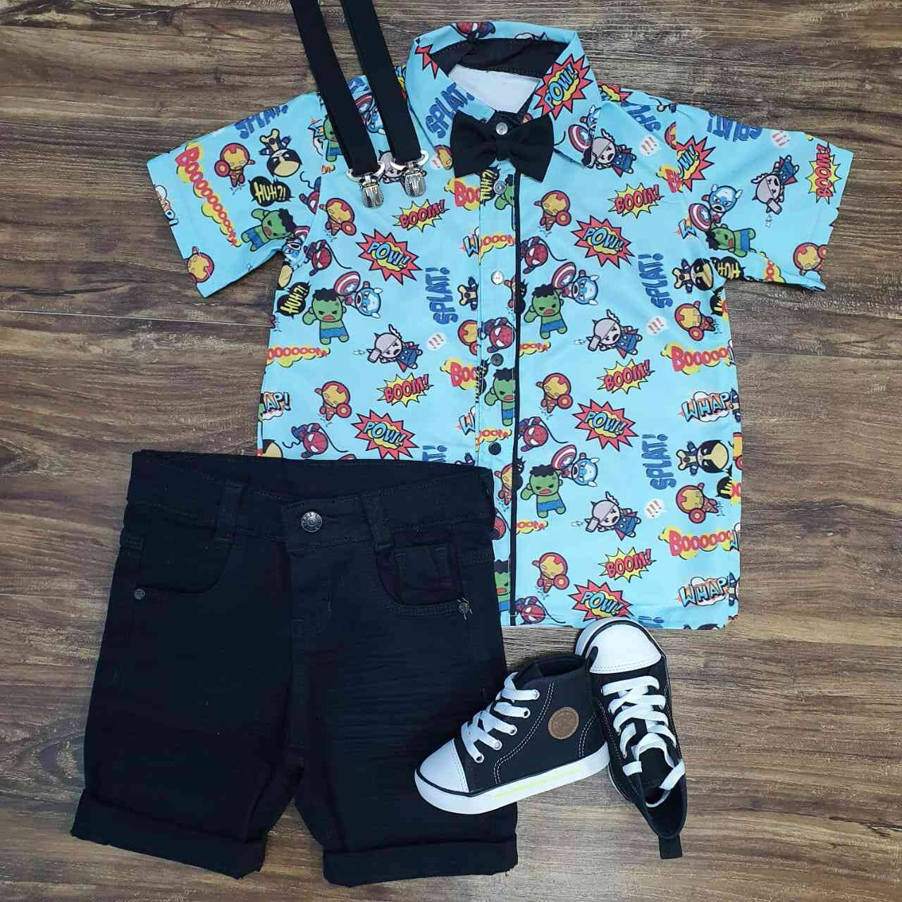 Bermuda com Camisa Heróis Infantil