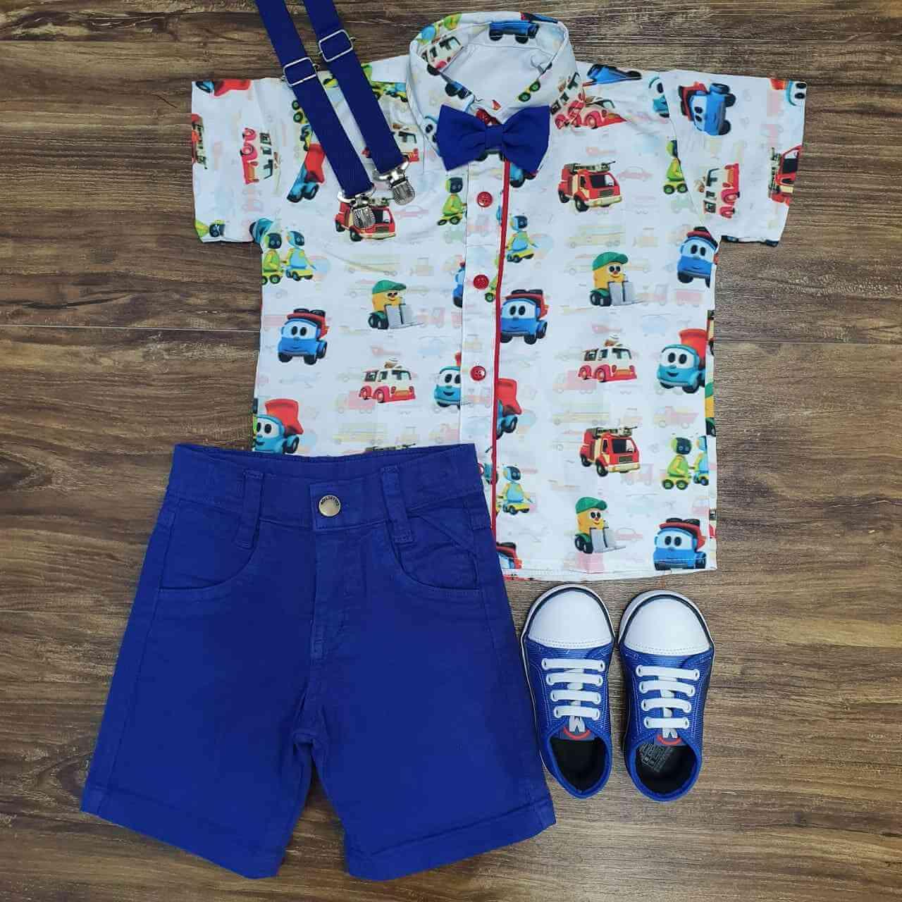 Bermuda com Camisa Léo Caminhão Infantil