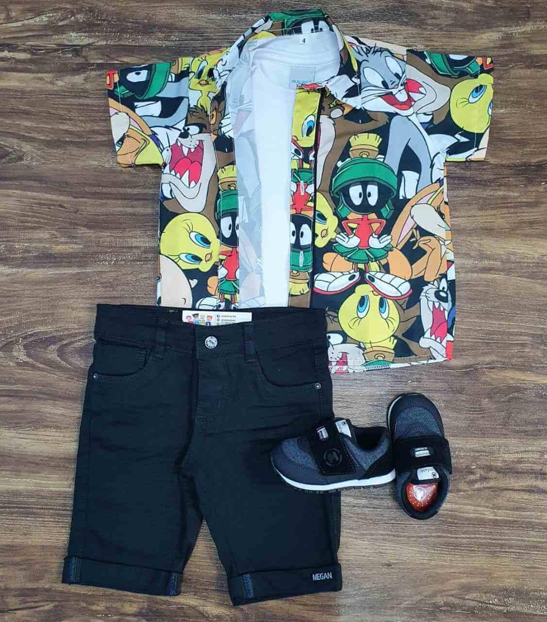 Bermuda com Camisa Looney Tunes mais Camiseta Infantil