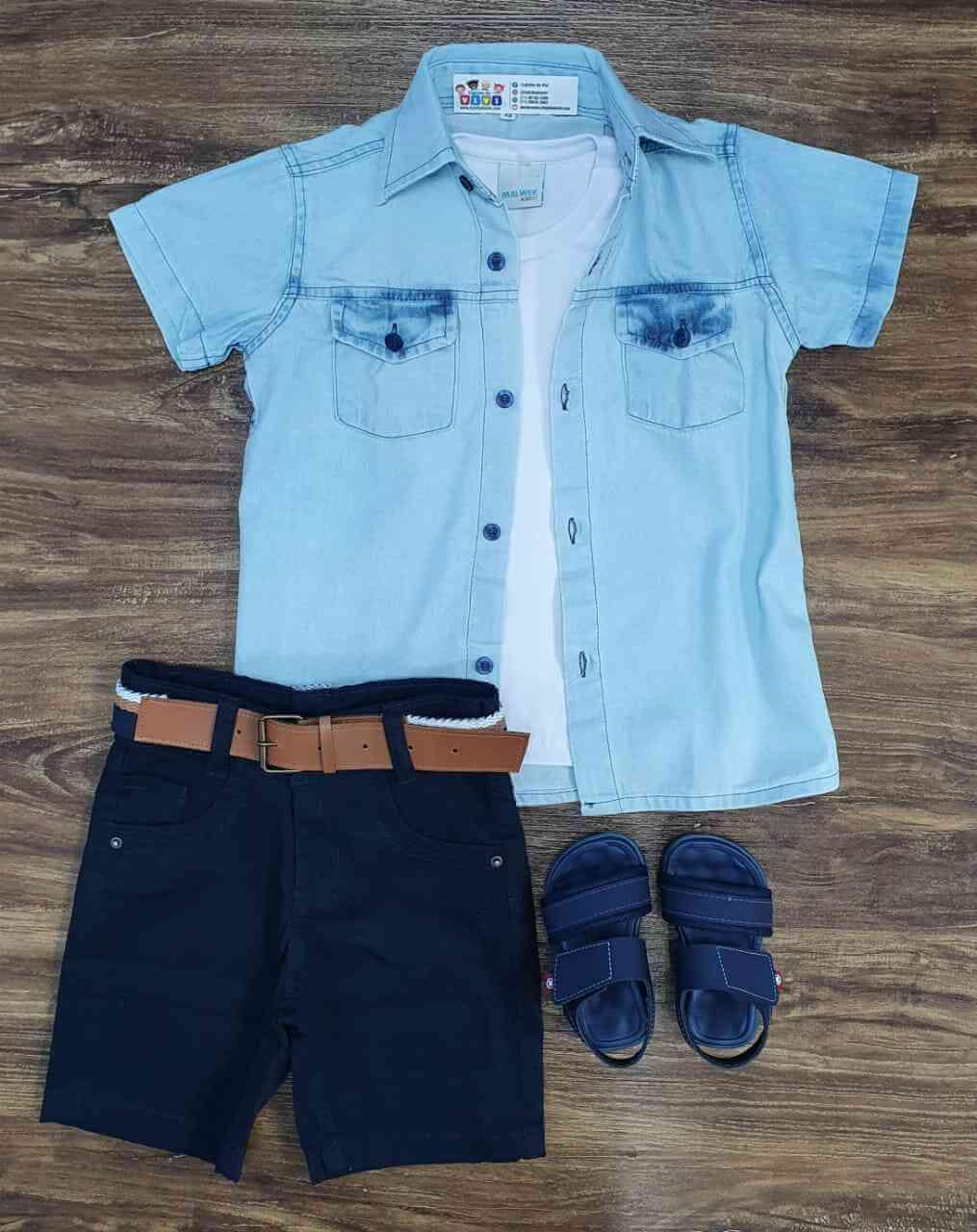 Bermuda com Camisa mais Camiseta Infantil