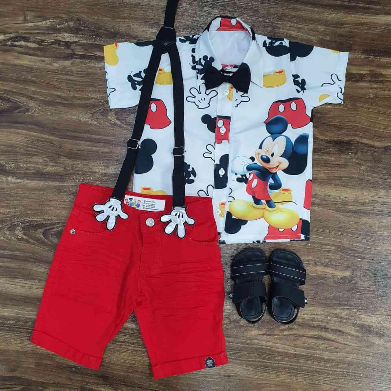 Bermuda com Camisa Mickey Infantil