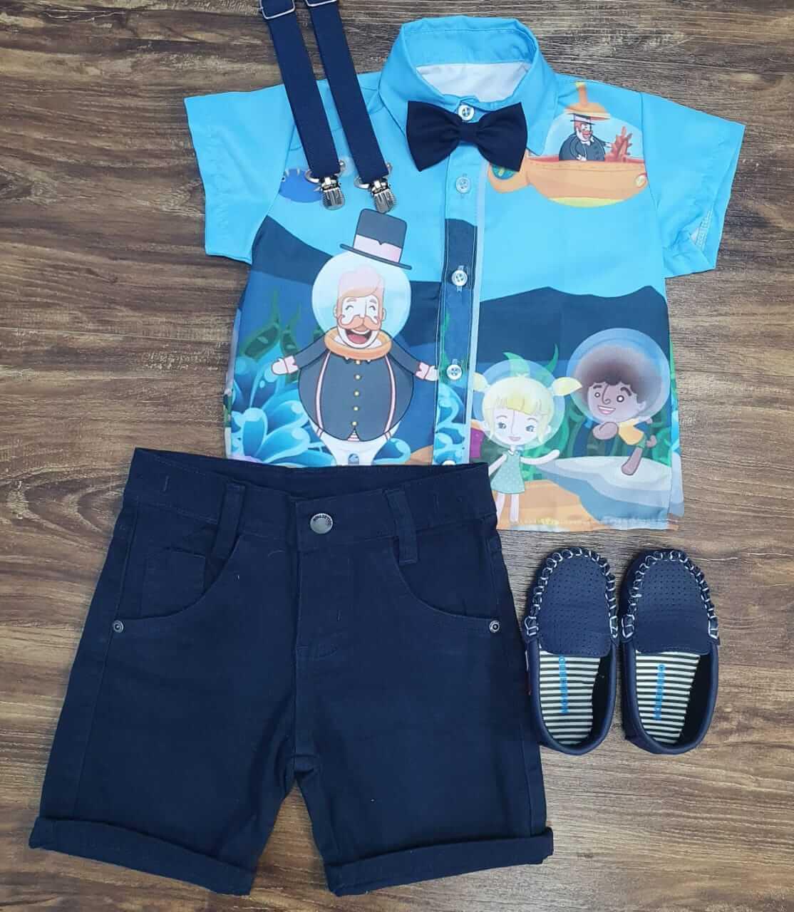 Bermuda com Camisa Mundo Bita Fundo do Mar Infantil