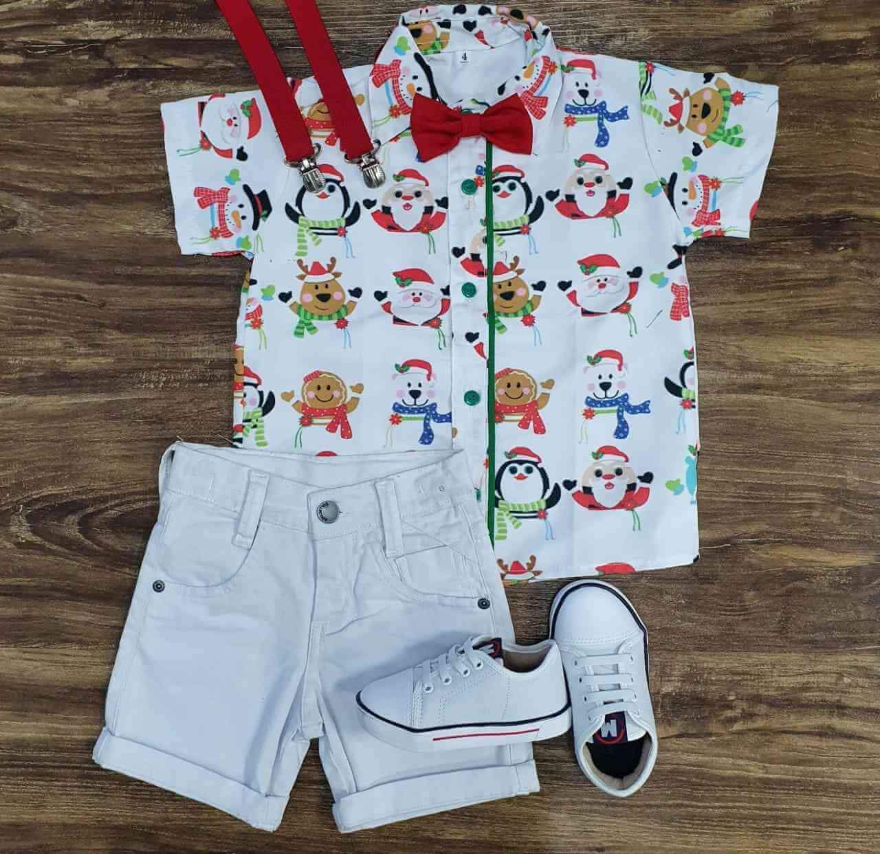 Bermuda com Camisa Natal Infantil