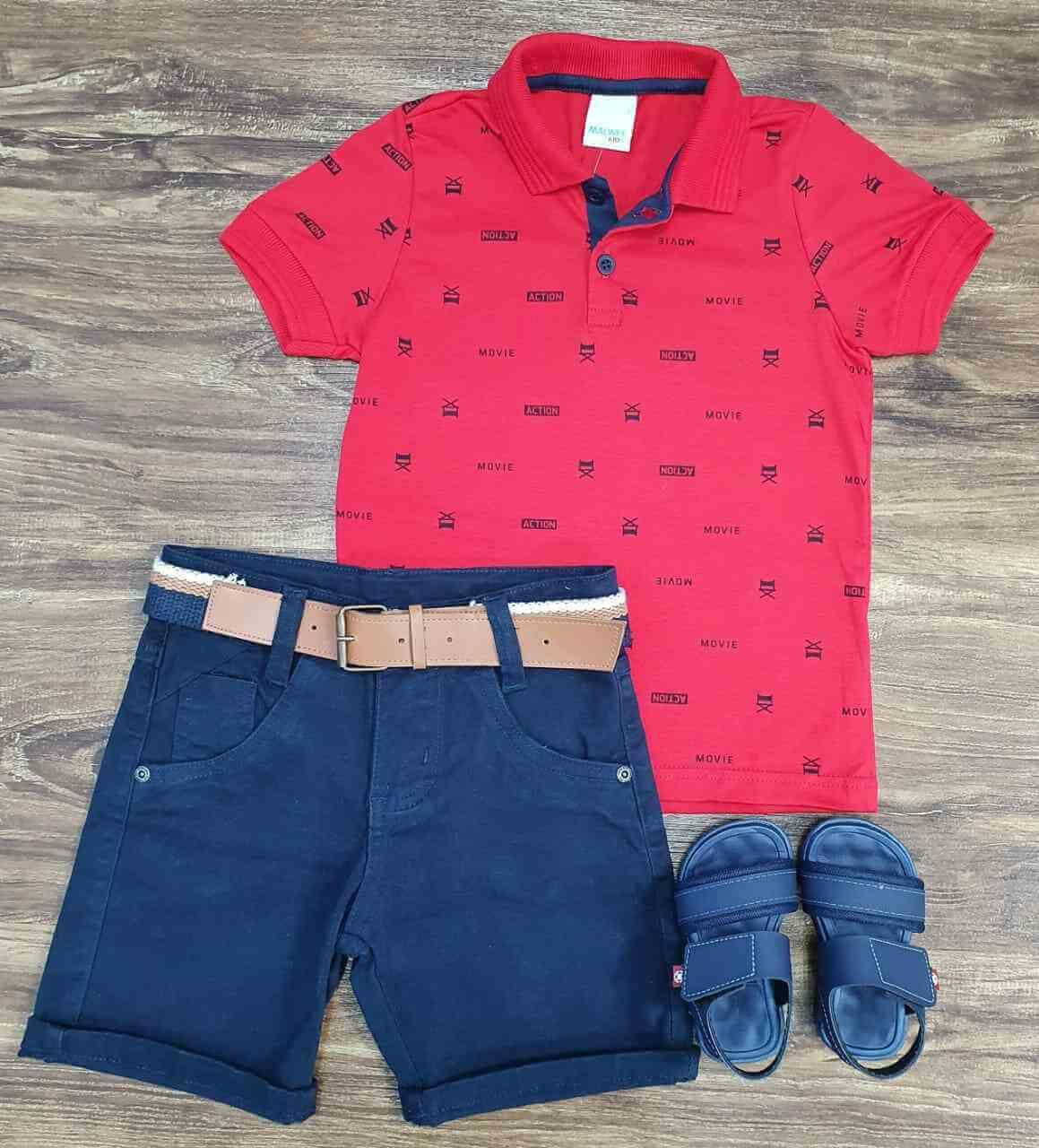 Bermuda com Camisa Polo Action Vermelha Infantil