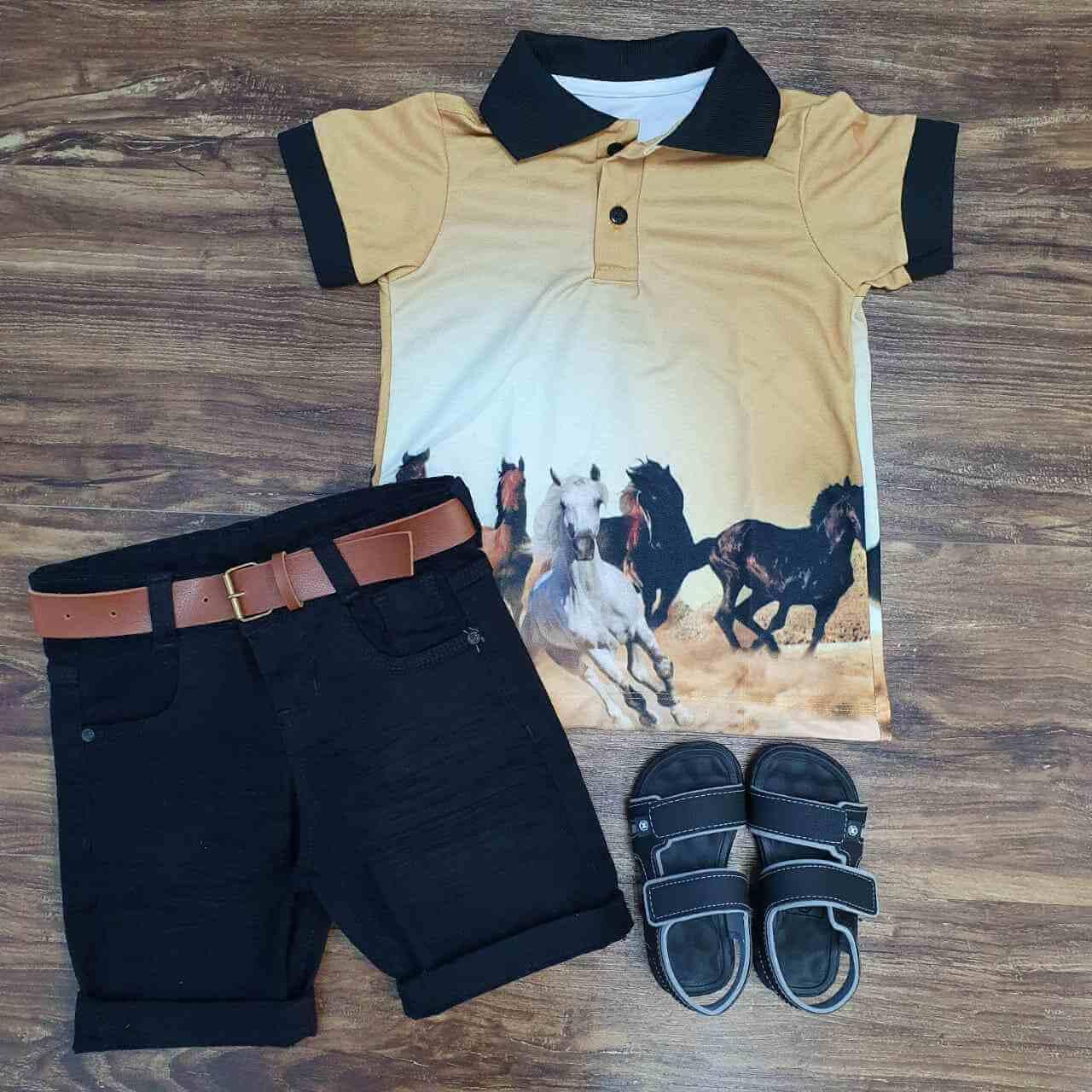 Bermuda com Camisa Polo Cavalos Infantil