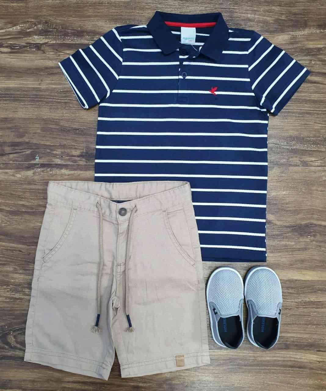 Bermuda com Camisa Polo Listra Infantil