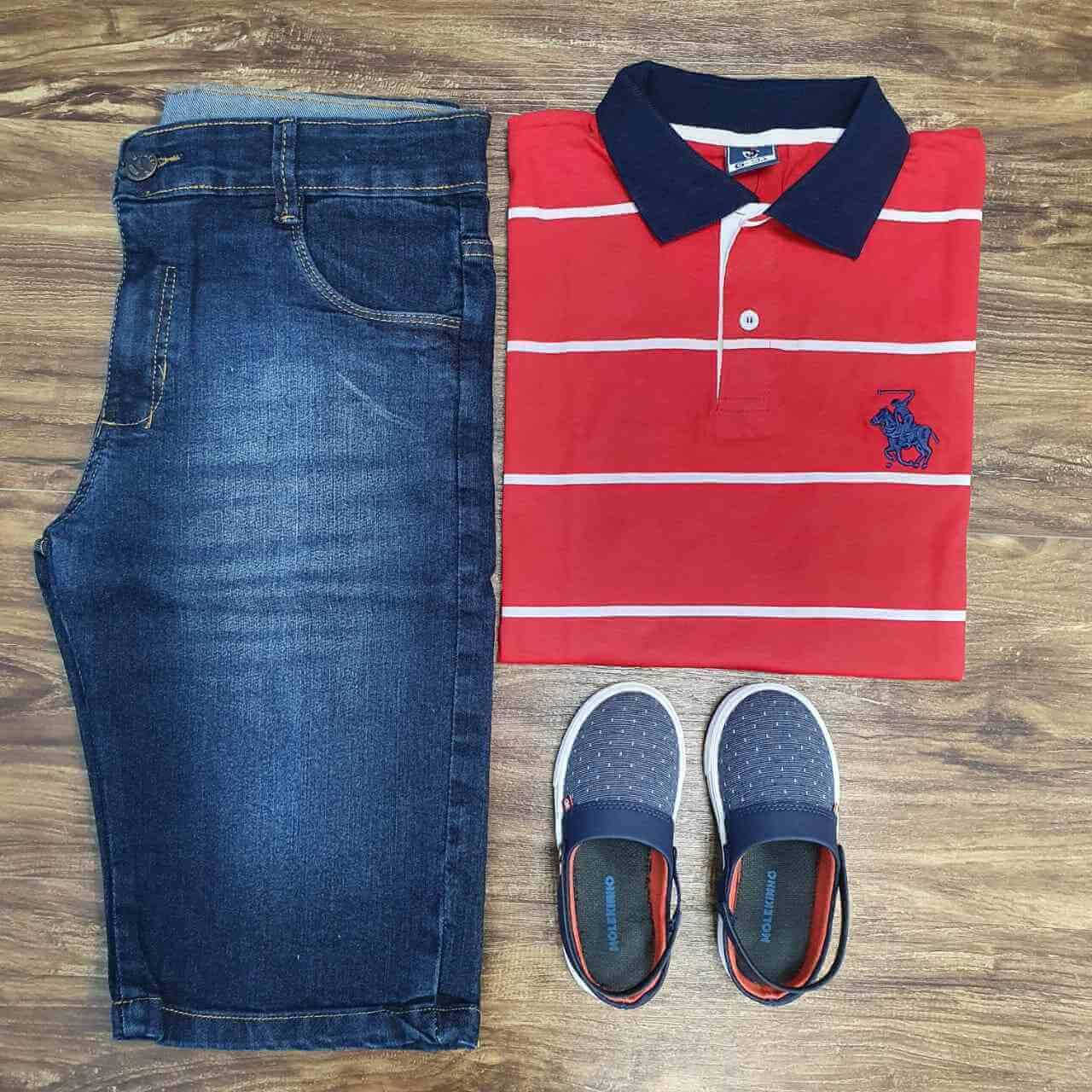 Bermuda com Camisa Polo Listrada Infantil