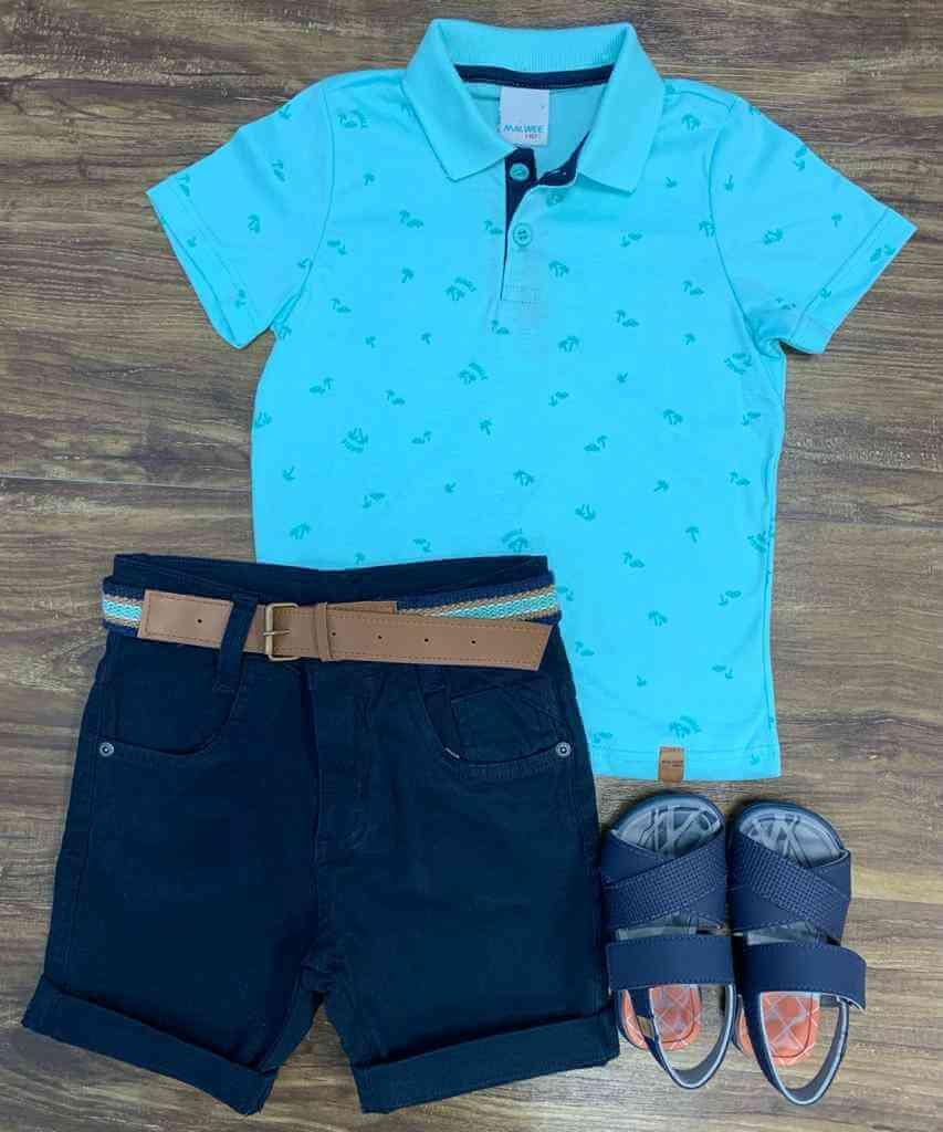 Bermuda com Camisa Polo Palmeiras Infantil