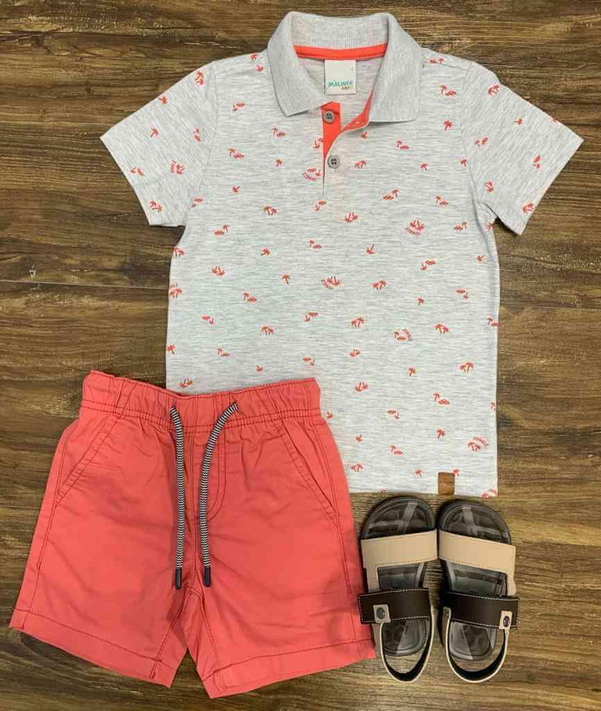 Bermuda com Camisa Polo Coqueiros Infantil