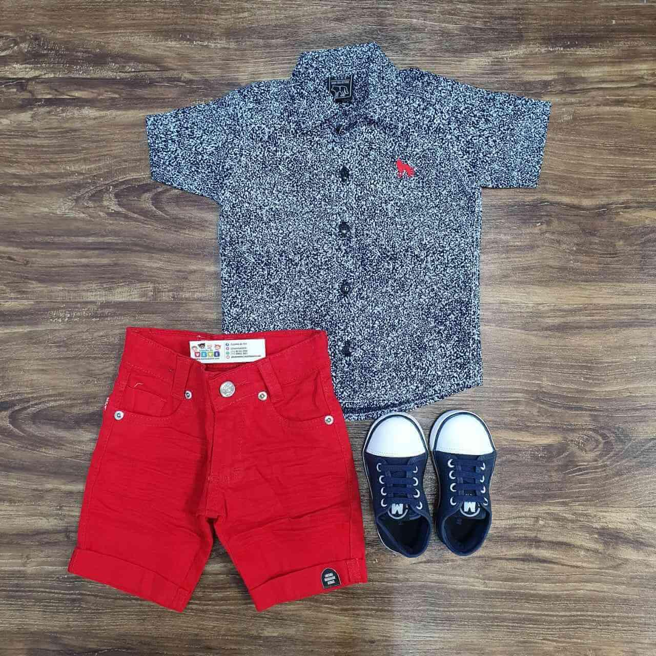Bermuda com Camisa Rajada Infantil