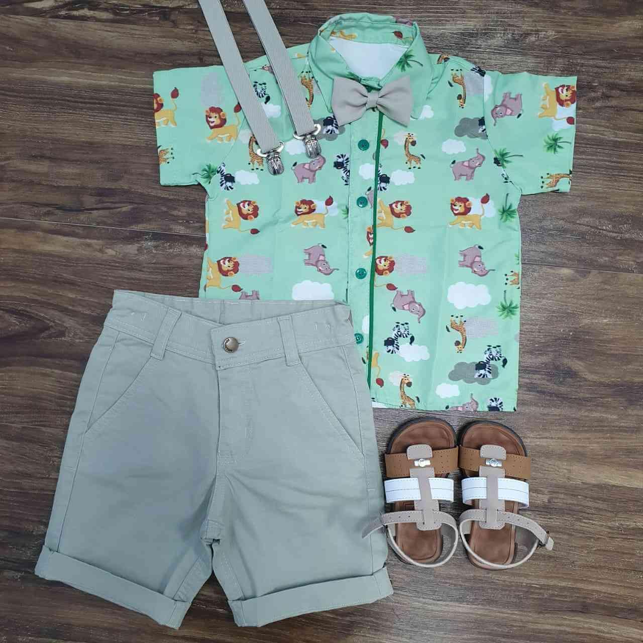 Bermuda com Camisa Safari Infantil