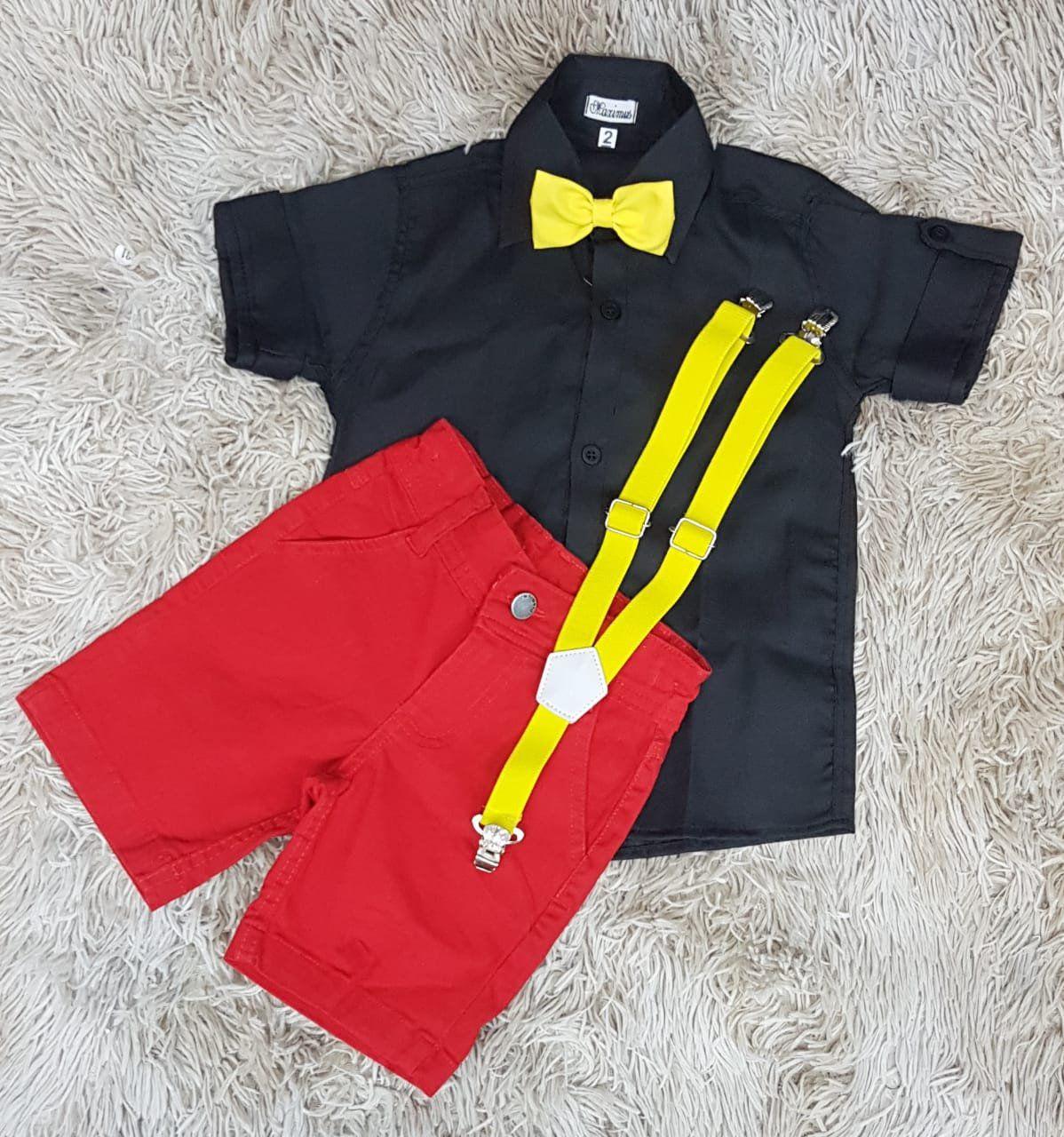Bermuda com Camisa Social mais Suspensório e Gravata - Look Mickey