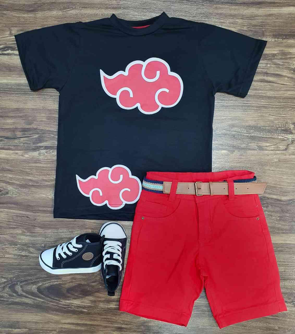 Bermuda com Camiseta Akatsuki Infantil