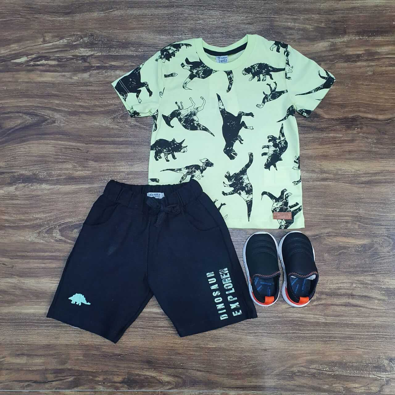 Bermuda com Camiseta Dinossauro Infantil