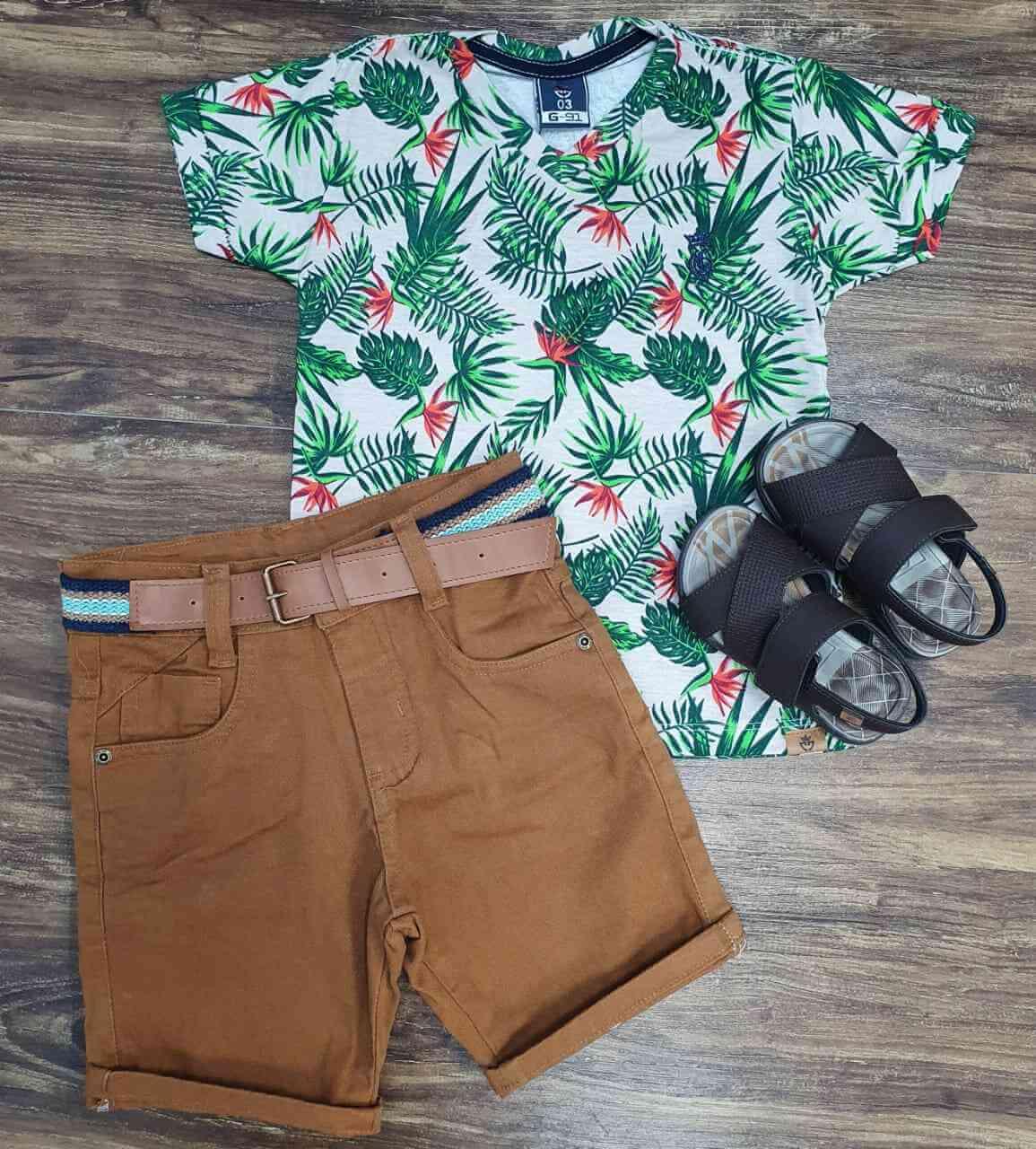Bermuda com Camiseta Floral Infantil
